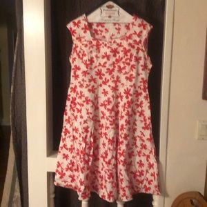 White with red floral pattern vintage style dress